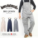 BIG JOHN ビッグジョン WORLD WORKERS OVERALL オーバーオール 日本製 綿100% ジーンズ デニム パンツ メンズ ワークウェア 定番 作業服 送料無料 WW502K