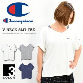 Champion チャンピオン レディース ロゴ刺繍 Vネック 半袖 Tシャツ スリット ウィメンズ 半袖Tシャツ CW-PS304