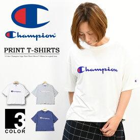Champion チャンピオン レディース ロゴプリント 半袖 Tシャツ ドロップショルダー ウィメンズ クルーネック 半袖Tシャツ CW-PS313