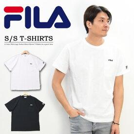 FILA フィラ ロゴ刺繍 胸ポケット 半袖 Tシャツ メンズ レディース ユニセックス ポケットTシャツ ロゴTシャツ 半T ポケT 半袖Tシャツ FM4825