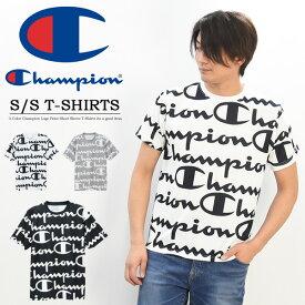 20%OFF セール SALE Champion チャンピオン 総柄 ロゴプリント 半袖 Tシャツ トレーニング メンズ レディース ユニセックス 半袖Tシャツ ロゴTシャツ C3-PS322