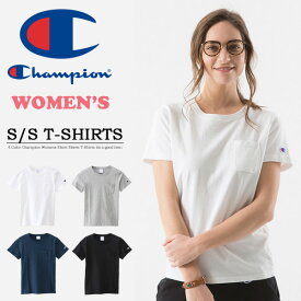 Champion チャンピオン レディース BASIC 胸ポケット 半袖Tシャツ ワンポイント 綿100% 無地 ウィメンズ クルーネック 定番 CW-M321 【楽ギフ_包装】