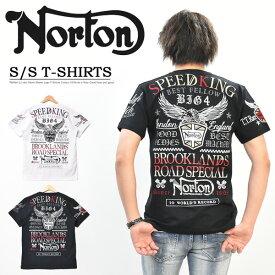 Norton ノートン エンブレム MAX Tシャツ 半袖 ラメ刺繍 ロゴ メンズ バイカー 半T 半袖Tシャツ 送料無料 202N1000
