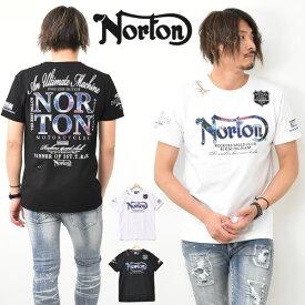 Norton ノートン 吸水速乾 ブルー スチール 半袖 Tシャツ ラメ刺繍 ワッペン ロゴ メンズ バイカー 半T 半袖Tシャツ 送料無料 202N1001