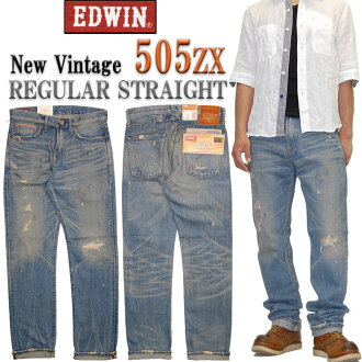 EDWIN (Edwin) 505 ZX new vintage limited edition model regular straight crash, damage, paint processing 505ZX-956