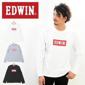 EDWIN エドウィン ロゴプリント 長袖 Tシャツ メンズ レディース ユニセックス プリントTシャツ ロゴTシャツ ロンT カットソー インナー 長袖シャツ ET5812