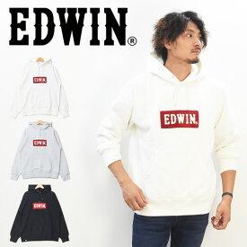 EDWIN エドウィン サガラ刺繍 ロゴ プルオーバー スウェットパーカー 裏起毛スウェット プルパーカー メンズ レディース ユニセックス ロゴパーカー 被り 送料無料 ET5838