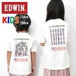 EDWINエドウィンキッズ60周年モデルバックプリント半袖Tシャツ110cm130cm150cm半袖Tシャツ半T男の子女の子ETK031
