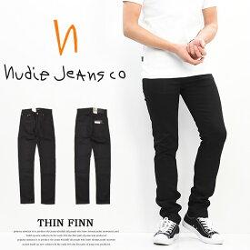 Nudie Jeans ヌーディージーンズ THIN FINN シンフィン スキニーストレート ストレッチデニム メンズ 定番 DRY EVER BLACK ブラック 112694 送料無料