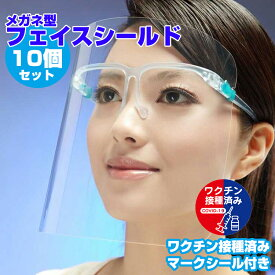 フェイスシールド メガネタイプ 男女兼用 飛沫防止 丈夫 曇らない コンパクト 目立たない クリア 接客 介護 掃除 防護マスク 10個セット