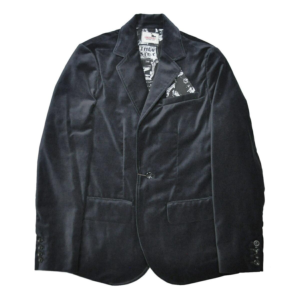 GANGSTERVILLE THE REVUE - JACKET (BLACK) ギャングスタービル 別珍 テーラードジャケット/GLADHAND【WEIRDO/ウィアード/OLD CROW/オールドクロウ】