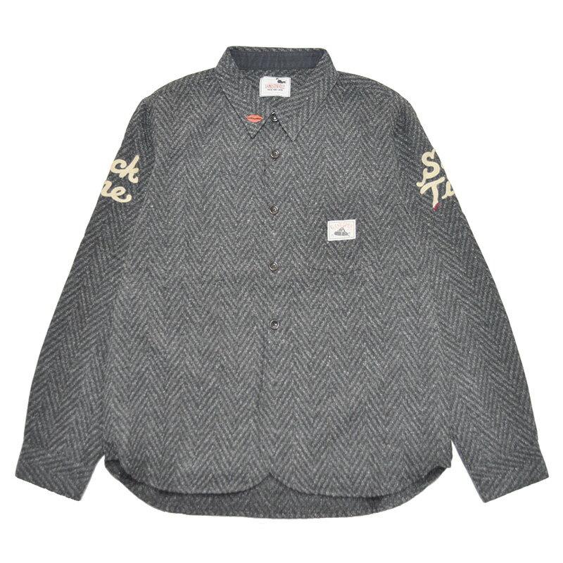 GANGSTERVILLE SACK TIME - L/S SHIRTS (BLACK) ギャングスタービル ヘリンボーンシャツ/GLADHAND【WEIRDO/ウィアード/OLD CROW/オールドクロウ】