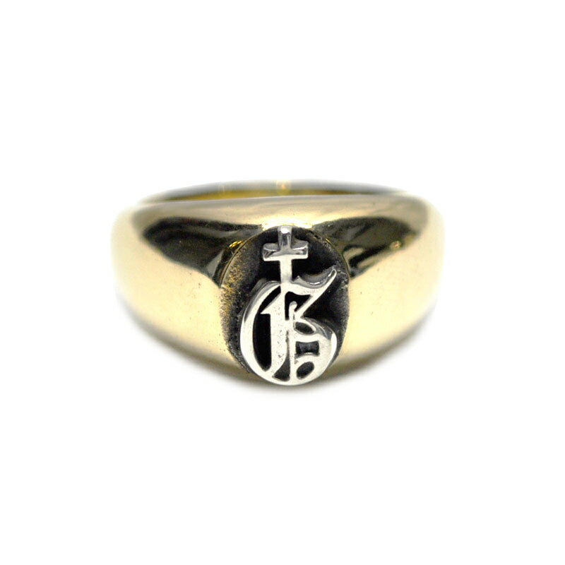 "GANGSTERVILLE x galcia 1 POINT RING ""G"" (BRASS×SILVER925) ギャングスタービル ガルシア コラボ Wネーム ワンポイントリング/GLADHAND【WEIRDO/ウィアード/OLD CROW/オールドクロウ】"