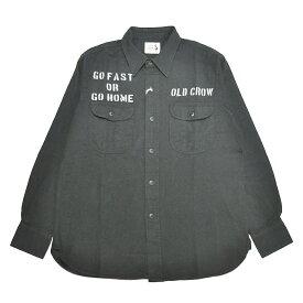 【残りS・XLサイズのみ】OLD CROW RODDER WORKER - L/S SHIRTS (BLACK) オールドクロウ ワークシャツ/GLADHAND/グラッドハンド/GANGSTERVILLE /ギャングスタービル/WEIRDO/ウィアード