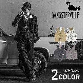 GANGSTERVILLE LADY WITH PANTHER - VEST (BLACK・BEIGE) ギャングスタービル リバーシブル ベスト/3ピース/セットアップ/GLADHAND/グラッドハンド/WEIRDO/ウィアード/OLD CROW/オールドクロウ