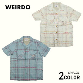 ウィアード 半袖オープンカラーチェックシャツ 開襟シャツ メンズ WEIRDO SILLY BEACH - S/S SHIRTS GLADHAND/グラッドハンド/GANGSTERVILLE/ギャングスタービル/OLD CROW/オールドクロウ