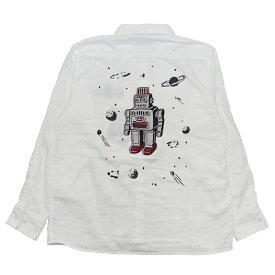 【残りMサイズのみ】WEIRDO S ROBOT - L/S SHIRTS (WHITE) ウィアード ダブルガーゼ シャツ/GLADHAND【GANGSTERVILLE/ギャングスタービル/OLD CROW/オールドクロウ】
