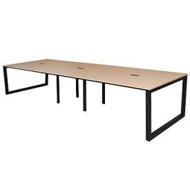 アールエフヤマカワ リスム フリーアドレス用テーブル W3600xD1200 ナチュラルxブラック脚 4ヶ口コンセント付き RFFLT-3612NA-BL