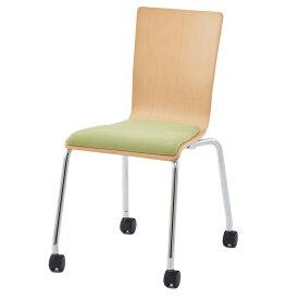 プライウッドキャスターチェア パッド付 グリーン(1脚)RFC-FPCAGN  椅子 会議用椅子 会議椅子 キャスター付き イス ミーティングチェア カフェチェア ダイニングチェア ワークチェア スタッキングチェア スタックチェア