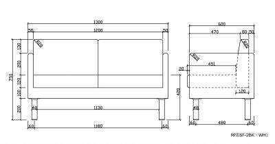 【在庫限り】コンパクトソファ 2人用  ブラック RFESF-2BK  アールエフヤマカワ RFyamakawa コンパクトソファ 応接セット 応接用 リビング