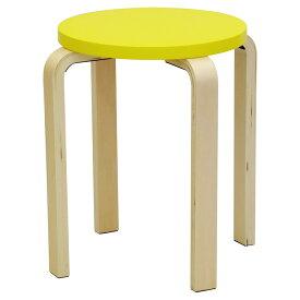 木製丸椅子 イエロー (1脚入) Z-SHSC-1YE アールエフヤマカワ RFyamakawa スツール ラウンド スタッキング いす チェア 腰掛け 丸イス 直径42cm 高さ44cm 黄色