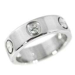 卡地亞愛/LOVE 3P、一半鑽石戒指、戒指/K18WG/750-7.8g/9號/#49/白色合金/Cartier■209697