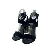 ルイヴィトン ベロア サンダル 靴/38(日本サイズ24.5cm相当)/ブラック/ゴールド/LOUIS VUITTON【♀】【B】【レディース】/b210225★■370910【中古】