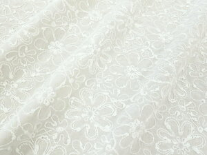 【レース生地 刺繍 生地 布】綿60ローン・全面コード刺繍(RG-sr-code)