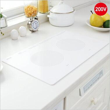 三化工業 ビルトインタイプ IHヒーター 【SIH-B223AW-W】2口横置型・前面操作タイプ 200V電源 ホワイト