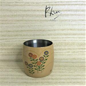 Rhus チタンカップ 樽型蒔絵 野菊 高級 パーティー 上品 ご褒美 大人