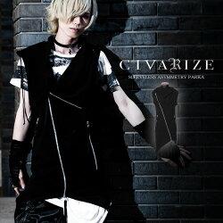 CIVARIZEアシンメトリノースリーブパーカー/Black