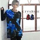 """【2019A/W新作】""""CIVARIZE【シヴァーライズ】フラワー総柄ビッグロングTシャツ/全2色""""【返品対象外商品】【あす楽対応…"""