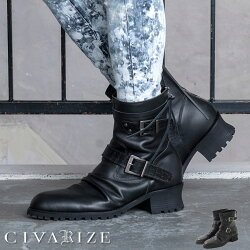"""【2020A/W新作】""""CIVARIZE【シヴァーライズ】フェイクレイヤードドレープエンジニアブーツ/全1色""""【返品・交換対象商品】【あす楽対応】ブーツヒールブーツエンジニアブーツ靴シューズヴィジュアル系V系メンズファッションモード系厚底"""
