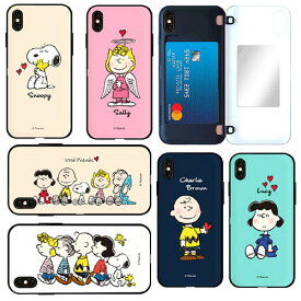 FT Snoopy Card Mirror Bumper スヌーピー IC Suica カード収納可能 iPhone Galaxy ケース カバー スマホケース
