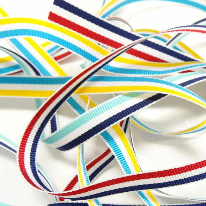 ストライププリント グログラン リボン TYPE A 15mm メーター売 全35色 SHINDO テープ 手芸 アパレル ラッピング SIC-1000-15