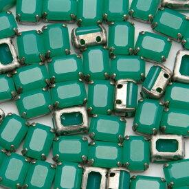 ヴィンテージスワロフスキー爪付き 2穴 #4610 8x6mm クリソプレーズ 10個 縫付用ラインストーン ビーズ