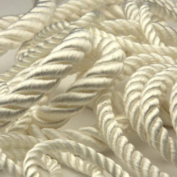 ツイストコード レーヨン 約10mm ホワイト 9.14M巻 手芸 服飾 アクセサリー きんちゃく紐 FUJIYAMA RIBBON