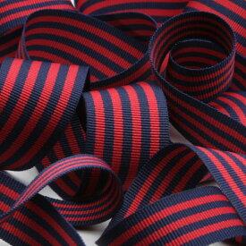 ストライプグログランリボン 約24mm ネイビーブルー&ダークレッド 9.14M巻 手芸 服飾 ラッピング FUJIYAMA RIBBON