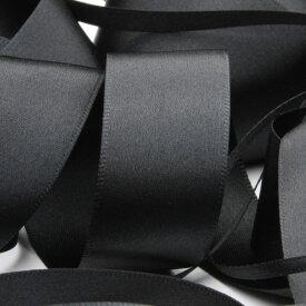サテンリボン 両面ポリエステル 15mm ブラック 9.14M巻 手芸 服飾 ラッピング FUJIYAMA RIBBON