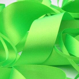 ネオンカラー サテンリボン 両面ポリエステル 15mm 蛍光グリーン 9.14M巻 手芸 服飾 ラッピング FUJIYAMA RIBBON