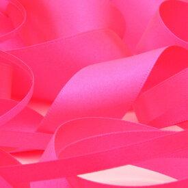 ネオンカラー サテンリボン 両面ポリエステル 6mm 蛍光ピンク 9.14M巻 手芸 服飾 ラッピング FUJIYAMA RIBBON