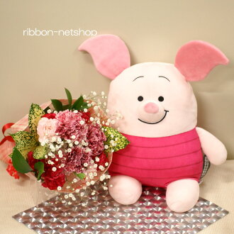 Bouquet (flower arrangement) & もっちいもっちいぬいぐるみ M Piglet set FL-HT-197 of the flower of the season