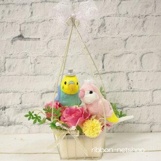 婚禮鳥·鸚鵡(彩色粉筆彩虹×粉紅)絲綢花(人造花)環枕頭FL-WG-494