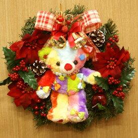 【送料無料】【クリスマス】クリスマスリース 30cm 「KAWAII BEAR」 KAWAIIベアー マスコット付きシルクフラワー(造花)リース FL-CH-440【クリスマスリース/お歳暮/ギフト/造花/店内装飾/インテリア】