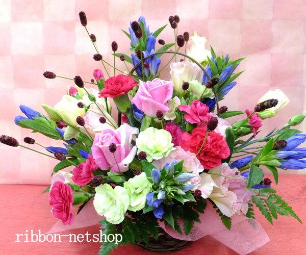 【9月限定】【送料無料】誕生日に贈る♪りんどうと季節のお花のフラワーアレンジメント(生花)FL-9GT-4【楽ギフ_包装】【楽ギフ_メッセ入力】