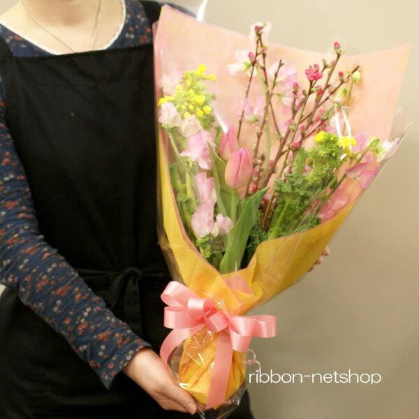【送料無料】【ひなまつり】花桃と春のお花の花束(生花) FL-HM-205【花束/ひな祭り/初節句/桃の節句/お祝い/ギフト】