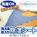 洗える 炭入り 除湿シート 約60×110cm 吸湿 防カビ 脱臭 吸湿センサー付