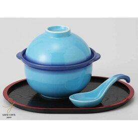 美濃焼 深海ブルーおかゆ鍋セット(お盆・レンゲ付) 和食器セット