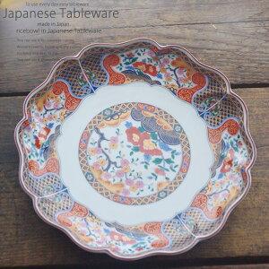 和食器 きのことソーセージのにんにく炒め 京友禅 パーティー大皿 31.5×4cm プレート 丸皿 おうち ごはん うつわ 食器 陶器 美濃焼 日本製