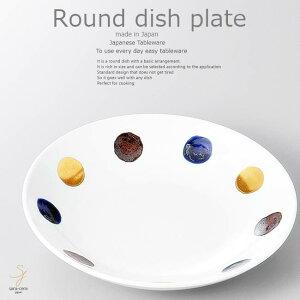 和食器 きのことソーセージのにんにく炒め 金彩丸紋 20×4.2cm プレート 丸皿 おうち ごはん うつわ 食器 陶器 日本製 インスタ映え